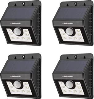 Mr Beams Solar Wedge 8 LED Security Outdoor Motion Sensor Wall Light, 4-Pack, Black