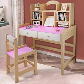 NANDIYNZHI Wooden Student Desk and Chair Set, Drawers and Bookshelves Adjustable Height Student's Study Computer Workstati...