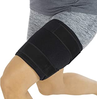 Thigh Brace - Hamstring Quad Wrap - Adjustable Compression Sleeve Support for Pulled Groin Muscle, Sprains, Quadricep, Tendinitis, Workouts, Cellulite Slimmer, Sports Injury Recovery - Men, Women