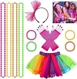 Lot de 4 colliers Disco fluo,1980,Eighties,accessoire,Carnaval,Déguisements,Fête