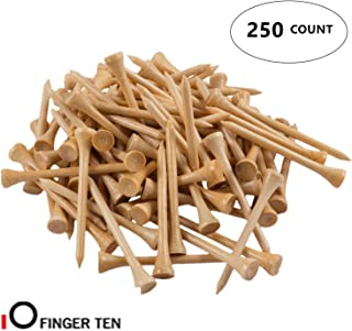 FINGER TEN Golf Tees 3 1/4 inch Wood Color Bulk 250 500 Count, with Free Deluxe Golf Tee Holder and Ball Marker for Men Women Kids