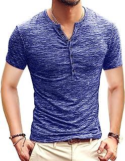 Mens Casual Slim Fit Basic Henley Long/Short Sleeve Fashion Summer T-Shirt