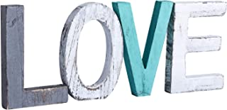 Y&ME Rustic Wood Love Sign, Decorative Wooden Block Word Signs, Freestanding Wooden..