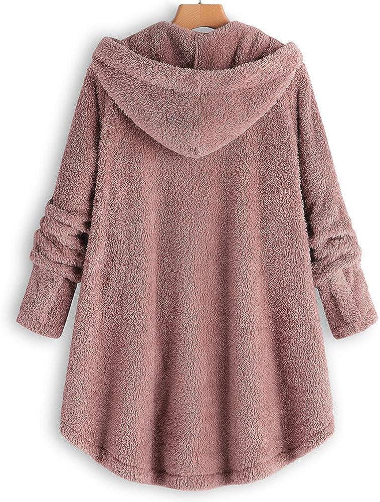 MEIbax Damen Pullover Mantel Flauschige Plüschjacke Mit Kapuze Winterjacke Lose Hoodies Fleecemantel Wollmantel Rosa