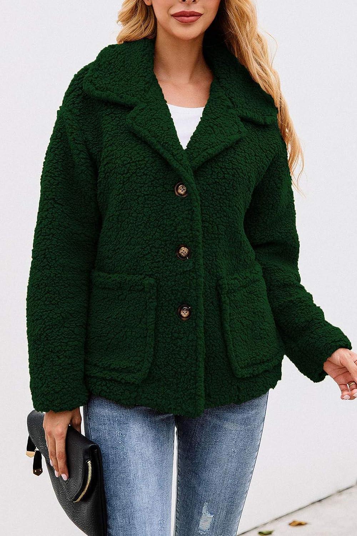 Minipeach Women's Coat Casual Lapel Fleece Fuzzy Cozy Fit Cardigans Shearling Button Winter Coat Jackets with Pockets