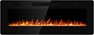 JAMFLY Electric Fireplace Wall Mounted 50 Inch Insert 3.86 Inch Super Thin Electric Fireplace Recessed Fit for 2 x 6 and 2 x 4 Stud Adjustable 12 Flame LED Bed Colors Remote Control with Touch Screen