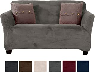 Great Bay Home Modern Velvet Plush Strapless Slipcover. Form Fit Stretch, Stylish Furniture Cover/Protector. Gale Collection Brand. (Loveseat, Wild Dove Grey)