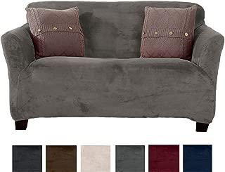 Modern Velvet Plush Love Seat Slipcover. Strapless Loveseat Cover, Stretch Slipcover for Loveseat, Soft Love Seat Cover for Living Room. (Love Seat, Wild Dove Grey)