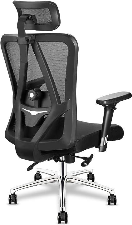 sedia ufficio da scrivania, sedia pc ergonomica, poggiatesta/braccioli regolabili, supporto lombare mfavour b08lkst84f