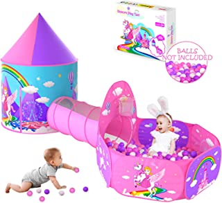 Gift for Girls Playhouse with Tunnel for Toddlers, Unicorn Princess Castle Play Tent for Kids Girls & Pop Up Play Tunnel &...