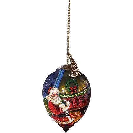 Ne Qwa Art Holy Nativity Painted Glass Ornament