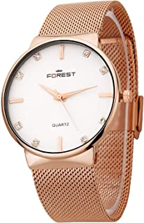 SKYTIME Forest White Dial Rose Plated Metal Strap Slim Look Analogue Wrist Watch for Mens & Women
