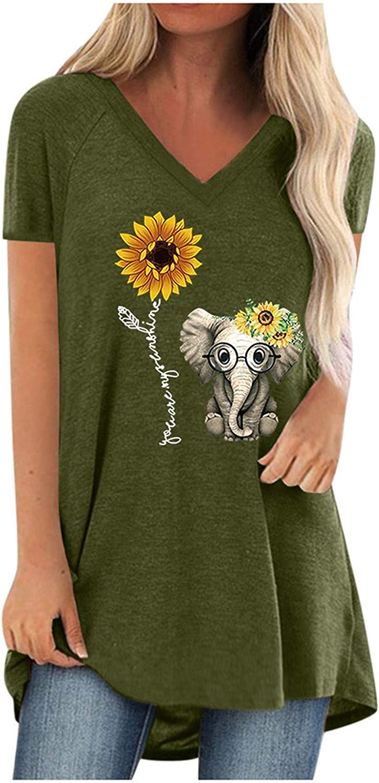 Tunics for Women to Wear with Leggings Short Sleeve Flowy Shirts Dandelion Cat Elephant Print Tops Plus Size.S-5XL