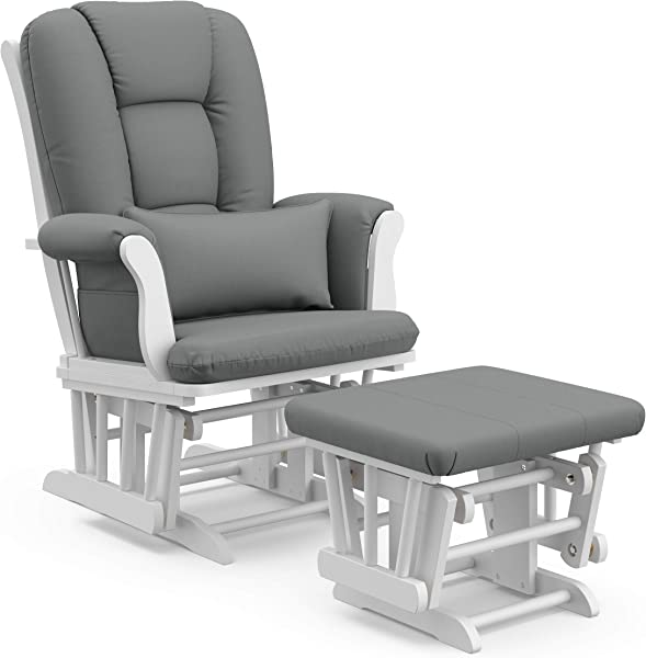 Storkcraft Tuscany Custom Glider And Ottoman With Lumbar Pillow White Grey