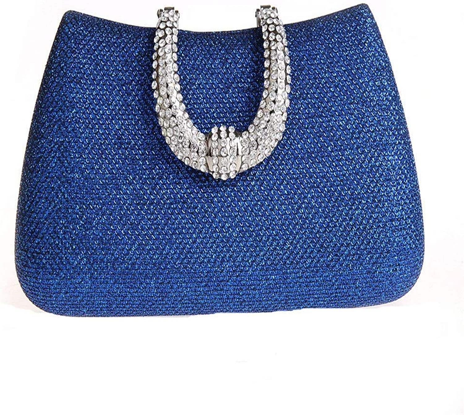 Clutch Bag Luxury Crystal Clutch Women Rhinestone Evening BagCocktail Party Evening Bag (color   bluee, Size   Free Size)