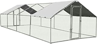 New Extra Large Chicken Coop Metal Guinea Pig House Rabbit Hutch Outdoor Cage 3 x 8 x 1.95m