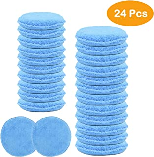 CARCAREZ 24pcs Microfiber Wax Applicator Pad for Car Detailing, Blue