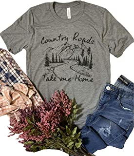 Country Roads Take Me Home Shirt Women's Letter Print Country Graphic Short Sleeve Tees Top