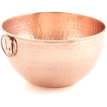 Old Dutch Solid Copper Stone Hammered Bowl, 5 Qt Mixing/Beating