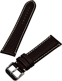 Hadley Roma MS885 22mm Brown Oil Tan Leather Contrast Stitched Watch Band