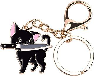 Avamie Cat Keychain, Enamel Ninja Black Cat Keychain, Cute Cat Key Chain and Charm for Handbags, Purses, Bags, Belts