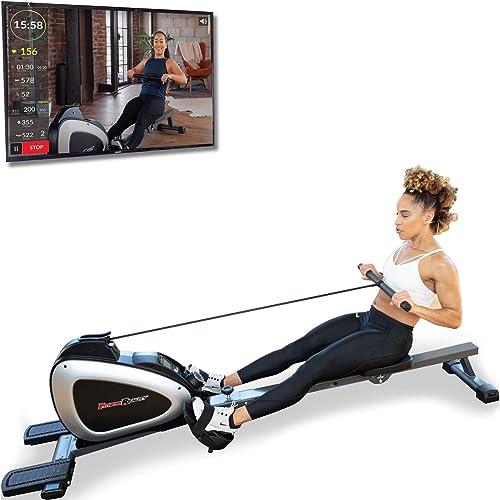 FITNESS REALITY - Máquina de remo magnética 1000 PLUS con bluetooth, con ejercicios extendidos de cuerpo completo opc...
