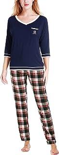 ملابس نوم نسائية من N NORA TWIPS برقبة على شكل حرف V وأكمام طويلة مع بنطلون بيجامة