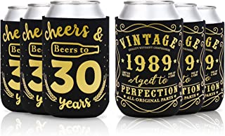 Cheers & Beers to 30 Years Can Cooler Vintage 1989 30th Birthday Party Favor Decorations Supplies Can Coolie Beer Sleeves Black and Gold Neoprene Coolers for Soda Beer Can Beverage Set of 12
