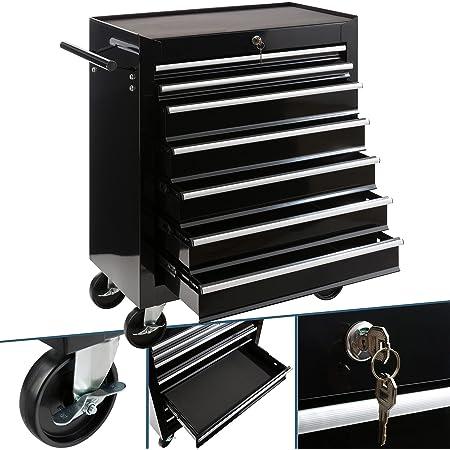 Carro de taller Arebos con 7 compartimentos   cierre centralizado   revestimiento antideslizante   ruedas con freno de estacionamiento   metal macizo   Negro
