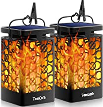 TomCare Solar Lights Upgraded Solar Lantern Flickering Flame Outdoor Hanging Lantern Decorative Lighting Solar Powered Waterproof LED Flame Umbrella Lights for Patio Garden Deck Yard, 2 Pack