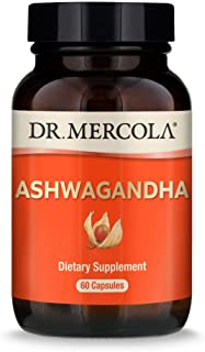Dr. Mercola, Organic Ashwagandha Capsules, 30 Servings (800mg, 60 Capsules), Helps Relieve Stress, Immune Support, Non GMO...