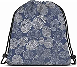 Blue Yellow White Retro Circles Drawstring Backpack Sports Athletic Gym Cinch Sack String Storage Bags for Hiking Travel Beach