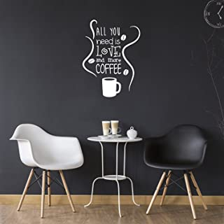"""All You Need is Love and More Coffee - Wall Art Decal 15\"""" x 20\"""" Decoration Wall Art Vinyl Sticker - Kitchen Wall Art Dec..."""