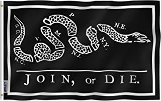 Anley Fly Breeze 3x5 Foot Black Join Or Die Flag - Vivid Color and UV Fade Resistant - Canvas Header and Double Stitched - Rattlesnake Flags Polyester with Brass Grommets