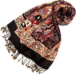 Scarf Paisley Floral Pattern Pashmina 27x79'' Brown Red - 78112