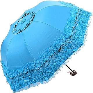Honeystore Princess Lace Ultraviolet-Proof Folding Umbrella Anti-uv Dome Parasol Style1 Blue