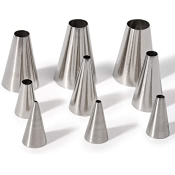 Kayaso 9 Piece Round Piping Tip Set with 20 Disposable Decorating Bags, Stainless Steel Pastry Tips, Graduated Sizes