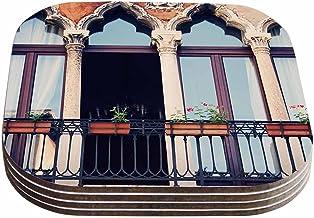 """قواعد أكواب بتصميم سيلفيا كومز """"فينيس 11"""" باللونين الأحمر والبني (مجموعة من 4 قطع) من كيس إنهاوس، 10.16 سم × 10.16 سم، متع..."""