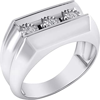 Trillion Jewels 0.15CT Natural Diamond 14K White Gold Over Three Stone Mens Engagement Ring