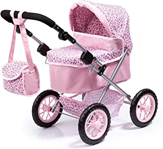 Bayer Design 13002AA Dolls Pram Trendy with Shoulder Bag, Underneath Shopping Basket, Foldable, Pink with Leopard Pattern