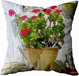 Musesh red Watercolor Geranium Cushions Case Throw Pillow Cover for Sofa Home Decorative Pillowslip Gift Ideas Household Pillowcase Zippered Pillow Covers 18X18Inch