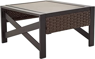 LOKATSE HOME Outdoor Metal Coffee Table Patio Square Side End Wicker Rattan Furniture with X Shaped Steel Legs, Brown&Black