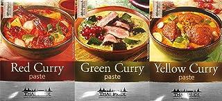 3 Sorten THAI PRIDE Currypaste - je 1x 50g rote, grüne, gel