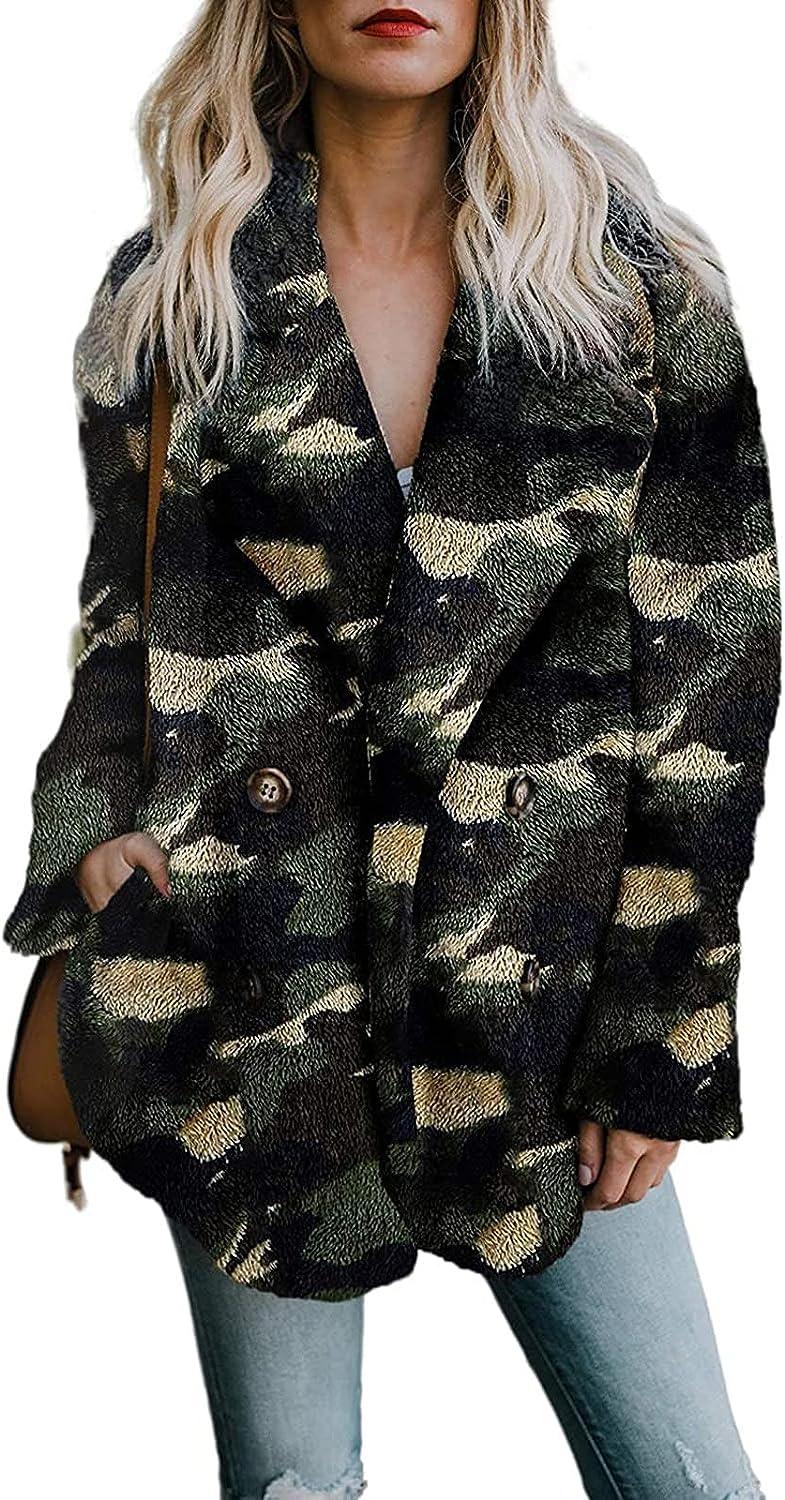 Goldweather Women Winter Warm Sherpa Jacket Casual Lapel Long Sleeve Button Open Front Fluffy Fleece Outwear Coat with Pocket