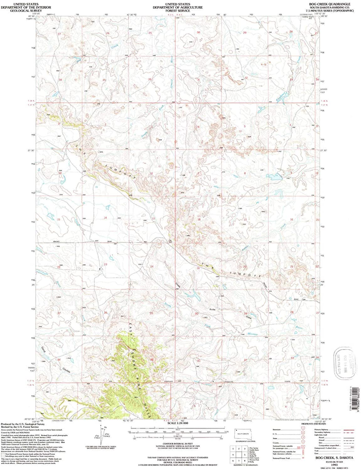 Bog Creek SD topo map, 1 24000 Scale, 7.5 X 7.5 Minute, Historical, 1993, Updated 1995, 26.8 x 22 in