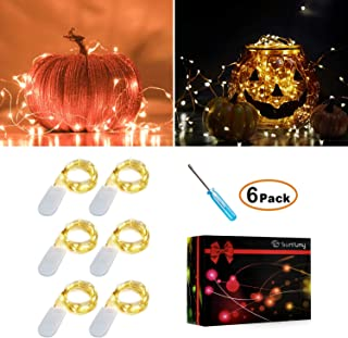 Sunfuny 6PCS Fairy Lights Warm White 3.3FT Silvery Copper Wire 20 Micro LED Starry String Lights Battery Powered/Operated ...