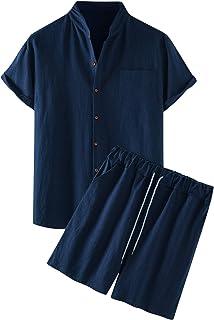 Kalkaly Tuta Uomo Estiva Completa Cotone E Lino Manica Corta Camicia Coreana + Pantaloncini Set Tute Sportive Uomo Complet...