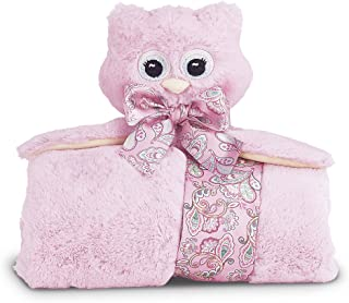 Bearington Baby Lil' Hoots Cuddle Me Sleeper, Pink Owl Large Size Security Blanket, 28.5