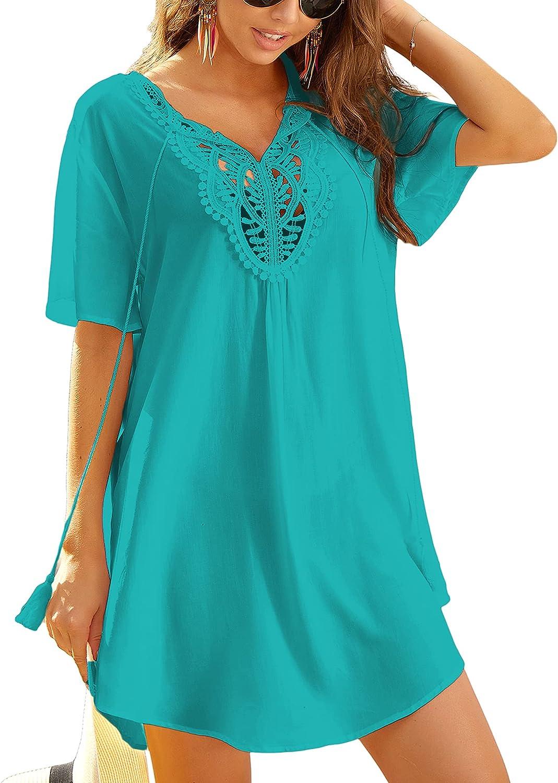 Ekouaer Swimsuit Cover Ups Women Lace Crochet V-Neck Summer Beach Coverups Dress for Swimwear Bathing Suit S-XXL