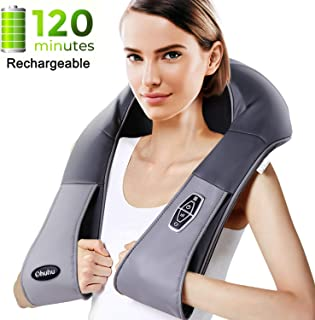 Cordless Rechargeable Shiatsu Back and Neck Massager with Heat, Ohuhu Electric Back Massage Pillow with 3D Kneading Deep Tissue for Foot, Legs, Full Body Massage, Relieve Muscle Pain - Home Car Office
